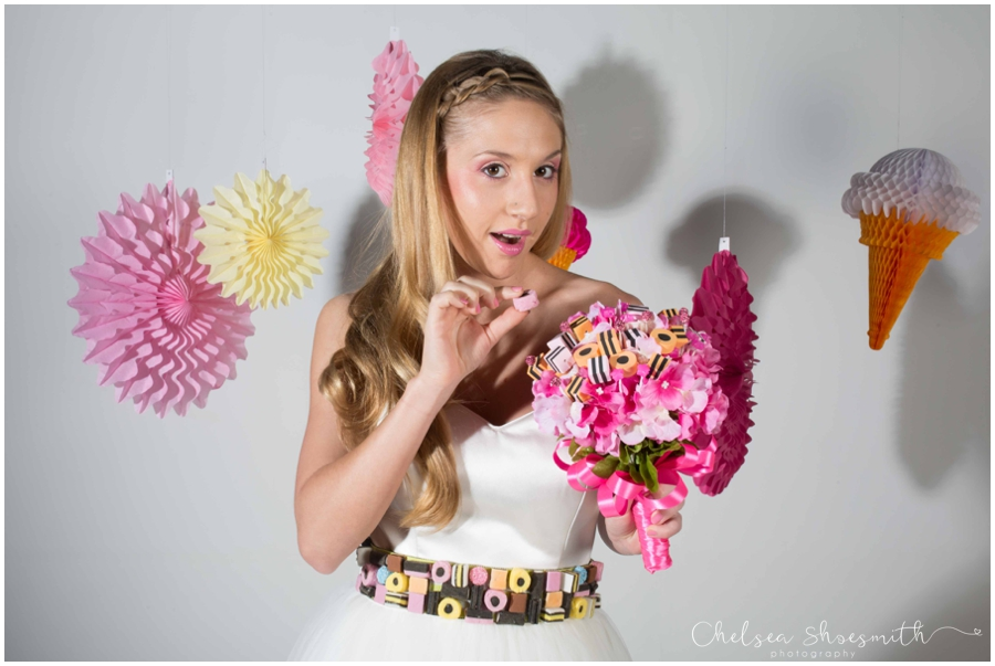 (39 of 104) Candy Sweetie Fashion Bridal Styled Shoot Pie Factory Manchester Chelsea Shoesmith Photography