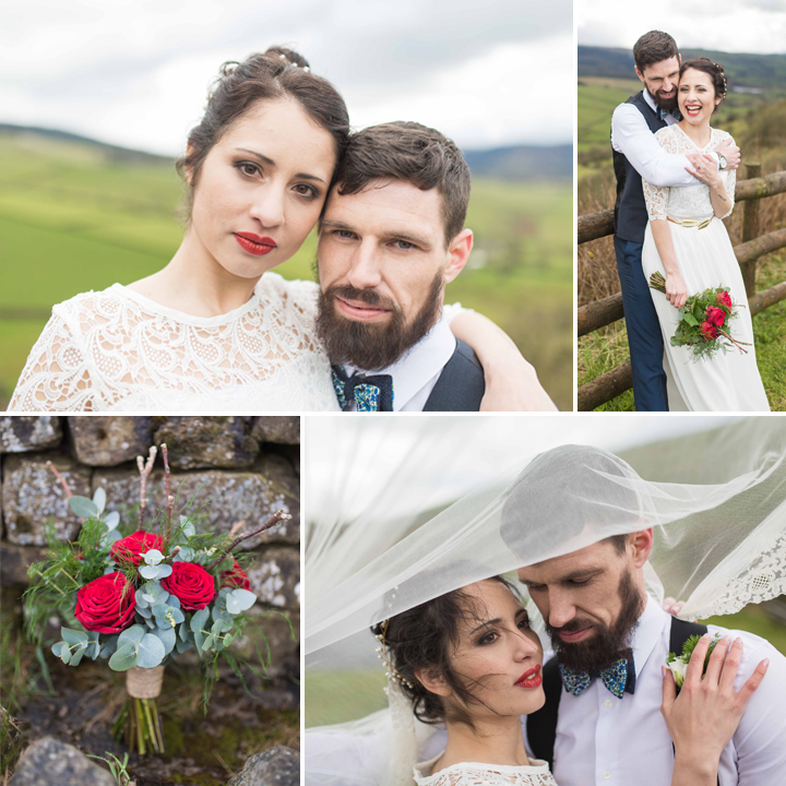 Red & Gold Themed Styled Wedding Shoot - Teggsnose Country Park, Cheshire
