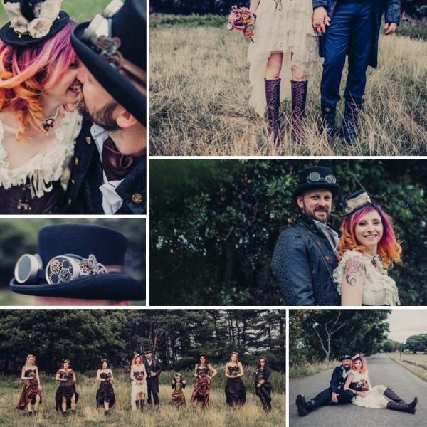 April & Rien's tipi Steampunk wedding  - Fairborough's Farm